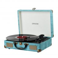 Bluetooth Record Player ,JOPOSTAR Suitcase Portable 3-Speed Belt-Driven Turntable Player Built-in Speakers , Headphone Jack , Aux Input