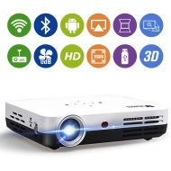 "WOWOTO H8 3500 lumens Mini Projector White LED DLP 1280x800 Real Mini Home Theater Projector WXGA Support 3D 1080P HD Android HDMI USBx2 RJ45 176""± Perfect for Entertainment Busine"