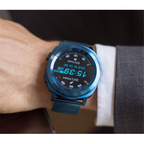 SKQC Smart Watch, Steel Band Waterproof Fashion Sports Heart Rate Monitor Bluetooth 4.0 Watch (Blue)