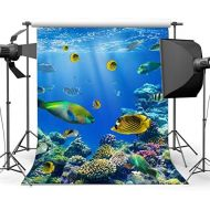 Gladbuy Vinyl 10X10FT 3D Underwater World Backdrop Aquarium Backdrops Fish Coral Blue Sea Tropical Photography Background for Kids Adults Summer Journey Ocean Sailing Portrait Phot