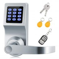 XINDA Smart Door Lock and Deadbolt in Satin Nickel with Keypad, RFID Card, Remote Control for Keyless Entry, Metal Keys Also Included, Ideal Digital Lock for Home, Office, Rentals