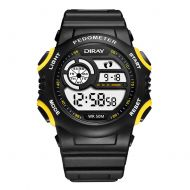 XuBa Multi-Function Luminous Calendar Clock Sports Fitness Watch Step Pedometer Watch Yellow Black