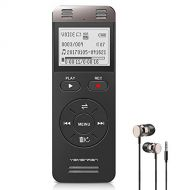 YEMENREN Digital Voice Activated Recorder, Yemenren 8GB Sound Audio Recorder Dictaphone for Lectures Meetings, USB, Rechargeable (Black)