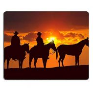 Yanteng Natural Rubber Gaming Mouse pad Mouse mat Cowboys and Horses Under Sunset PM011615