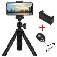 ZTON Flexible Tripod Holder with Wireless Remote Shutter, Adjustable Mobile Phone Mount, Universal Octopus Stand for iPhone, Samsung, Camera (Black)