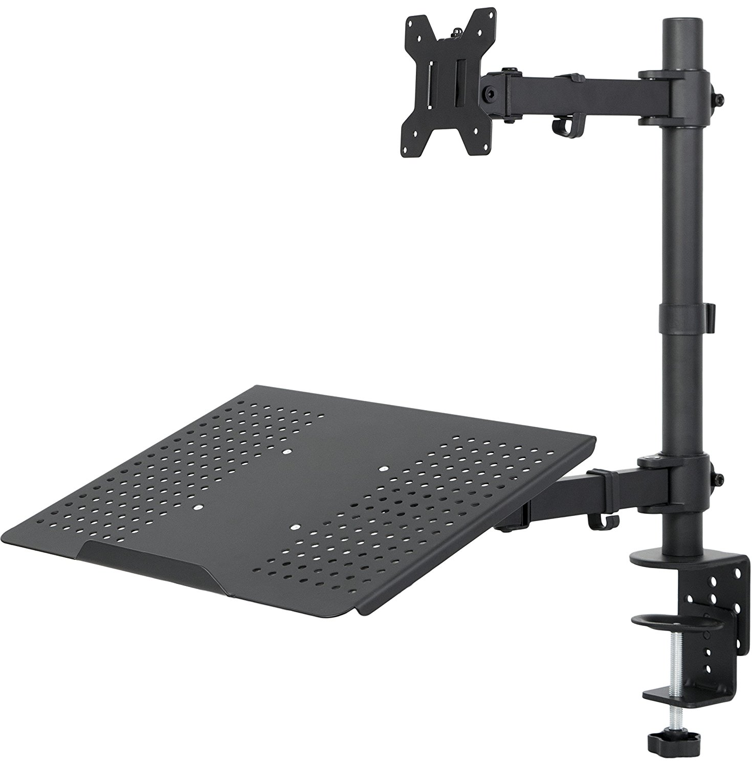 VIVO Fully Adjustable Single Computer Monitor and Laptop Desk Mount Combo Black Stand with Grommet Option | Fits 13